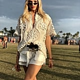 Devon Windsor Wearing a White Embroidered Top With Matching Shorts