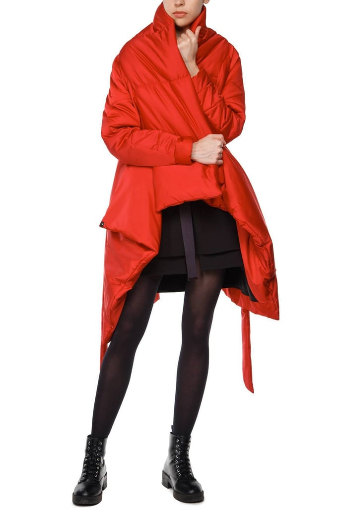 Womenson Sculpted Scarf Puffer Coat