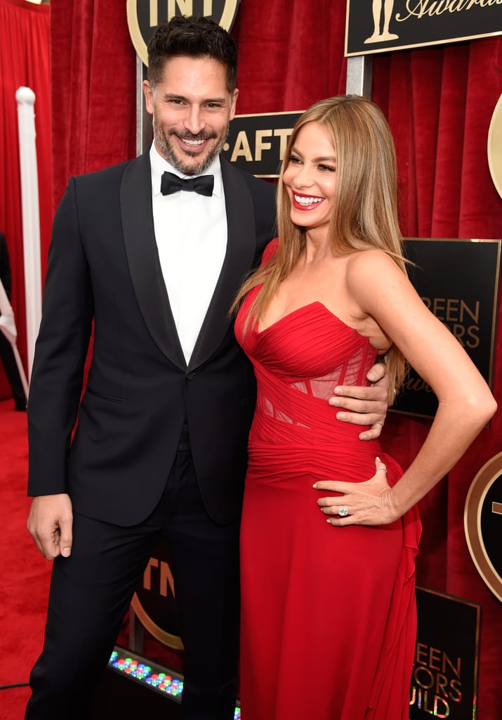 Sofia Vergara and Joe Manganiello took the SAG Awards red carpet by storm in LA on Sunday night. The couple, who got engaged in December, was showing love for the cameras on their way into the show, which is their first event since getting engaged. Sofia wore a sexy red gown and showed off her new diamond ring while Joe looked handsome in a classic tuxedo. Sofia and her Modern Family cast were up for outstanding performance by an ensemble in a comedy series, while Eric Stonestreet, Julie Bowen, and Ty Burrell were nominated for individual honors.  Make sure to see all the stars on the red carpet, and check out the most gorgeous gowns.