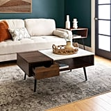Wood and Faux Marble Coffee Table