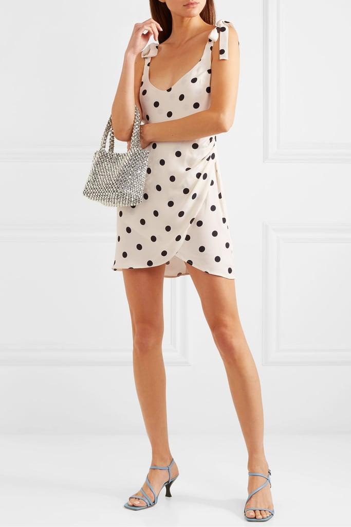 Reformation Yves Tie-Detailed Polka Dot Crepe de Chine Wrap-Effect Mini Dress ($357.08)