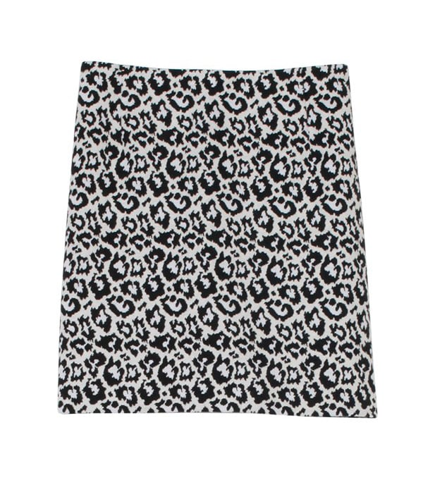 Tibi Black and White Leopard Print Skirt