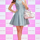 Miranda Kerr was all dolled up in a printed Josh Goot fit-and-flare and caged Azzedine Alaïa sandals during a promotional event in Tokyo, Japan.