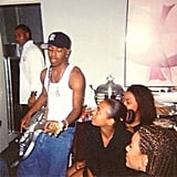 """Solange wrote, """"#tt The sock [bun]. Best thing since sliced [bread]. (This will be deleted tomorrow, and it's not because I don't love Sisqo's awesome guitar.)"""" Source: Instagram user saintrecords"""
