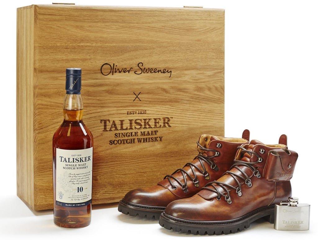 Oliver Sweeney Hiking Boot and Whisky Gift Set (£595) Visit Oliver Sweeney's Covent Garden store and have any leather piece tattooed by their resident tattoo artist, adding an extra special personalised touch to your gift.