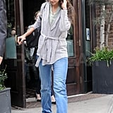 Katie Holmes left an early morning breakfast meeting.