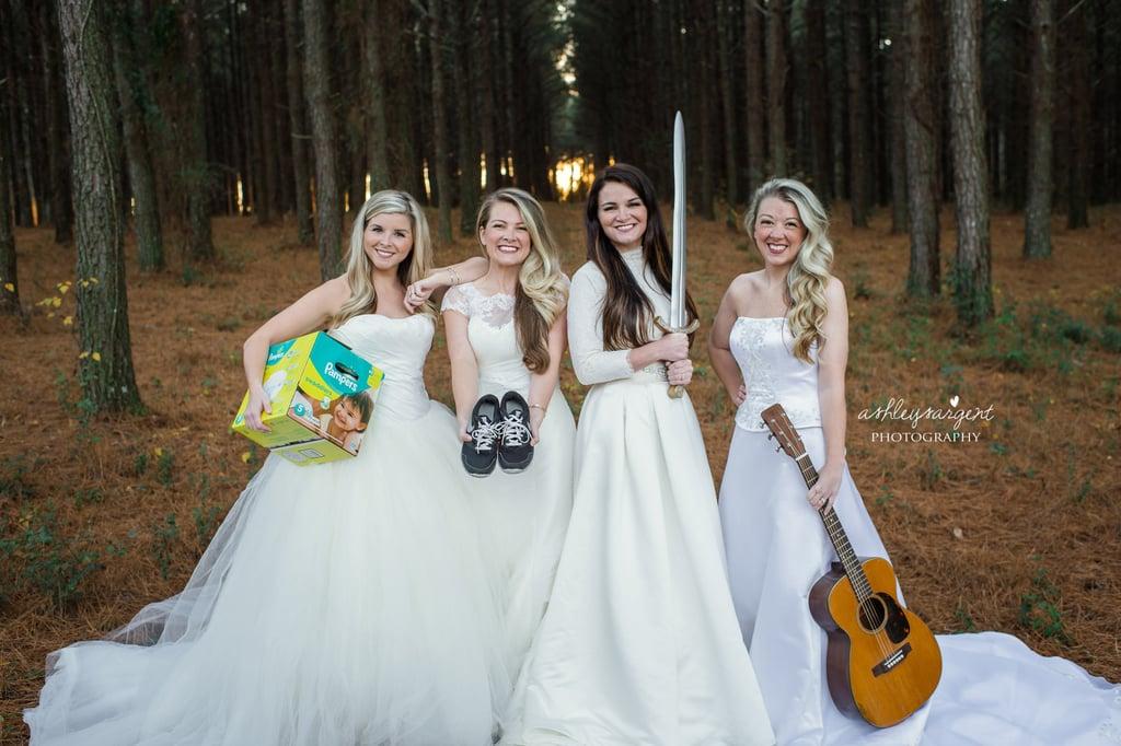 Sisters Take Epic Wedding Dress Photo as a Thank-You to Their Single Mum