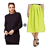 Now here's what we call a symbiotic fashion relationship: the neon skirt breathes life into the navy sweater, and the navy sweater simultaneously tames the neon skirt. Both are equally important in this style equation.  Get the look:   Vila navy cable-knit sweater ($44)  Tibi neon full skirt ($525