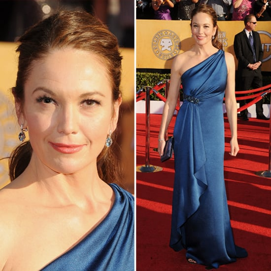 Pictures of Diane Lane in David Meister Blue One Shoulder Gown at the 2012 SAG Awards