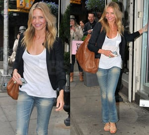 Photo of Cameron Diaz Wearing Distressed Jeans, Tank, and Blazer in New York