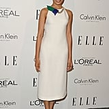 Freida Pinto wore a sleek white dress.