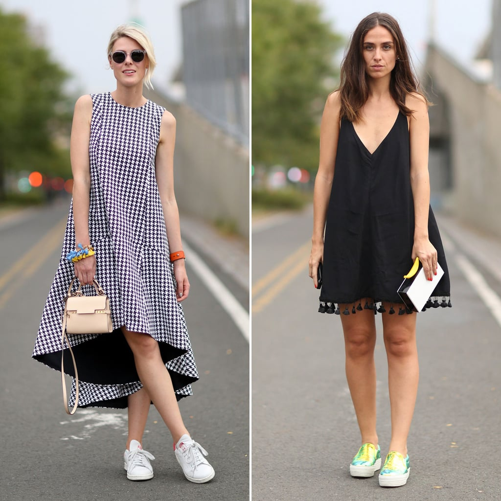 How To Wear Sneakers With Skirts And Dresses Popsugar