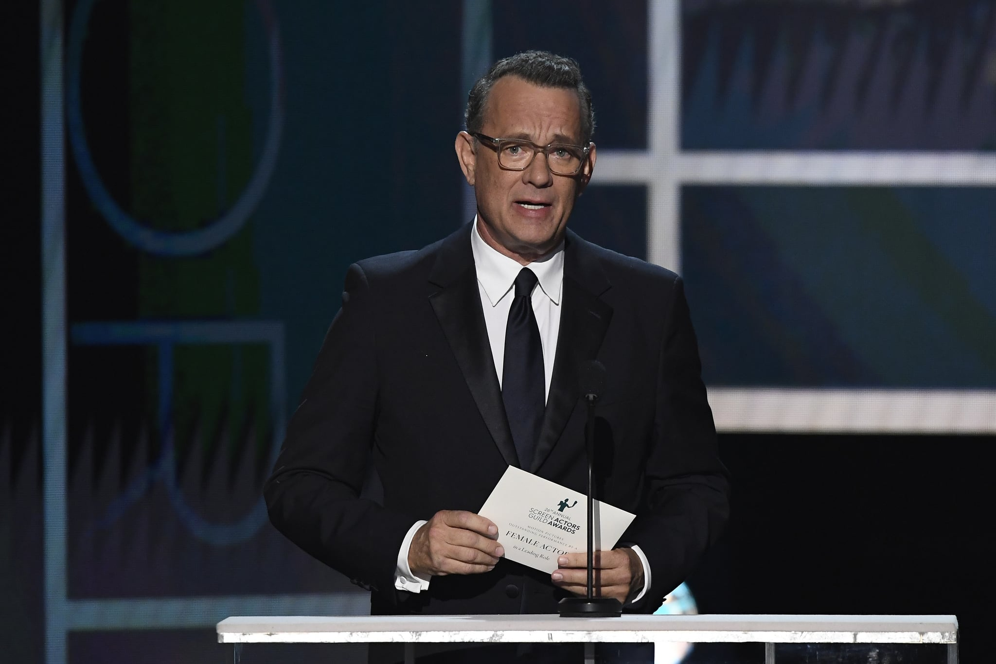 LOS ANGELES, CALIFORNIA - JANUARY 19: Tom Hanks speaks onstage during the 26th Annual Screen Actors Guild Awards at The Shrine Auditorium on January 19, 2020 in Los Angeles, California. 721359 (Photo by Kevork Djansezian/Getty Images for Turner)