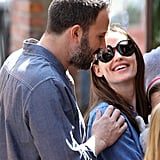 Ben put his hand on Jennifer's shoulder during a family outing in LA's Pacific Palisades neighborhood in March 2013