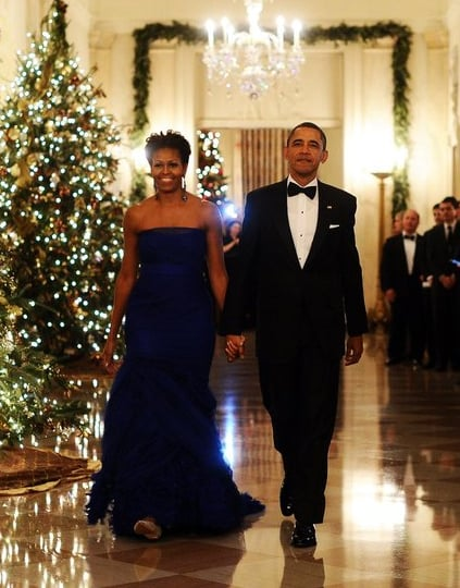 The FLOTUS was the belle of the ball in a custom strapless cobalt tulle Vera Wang gown. Her blue dress stole the show at the 34th annual Kennedy Center Honors.