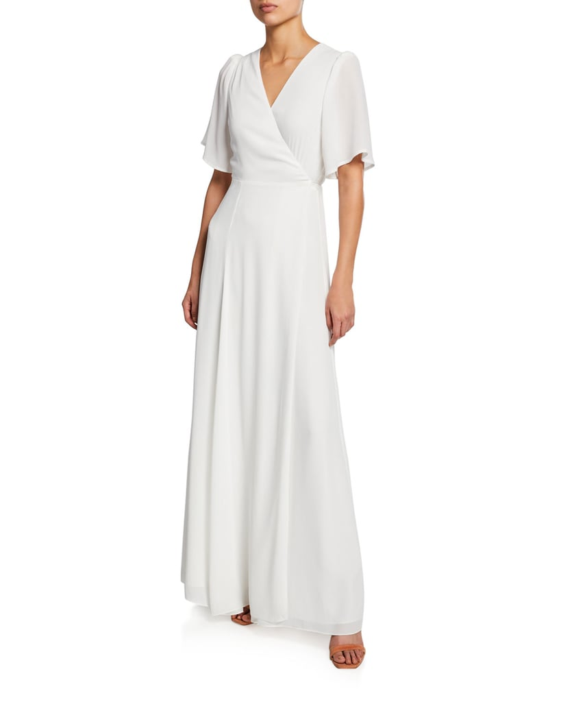 WAYF The Aurelia Short-Sleeve Wrap Gown