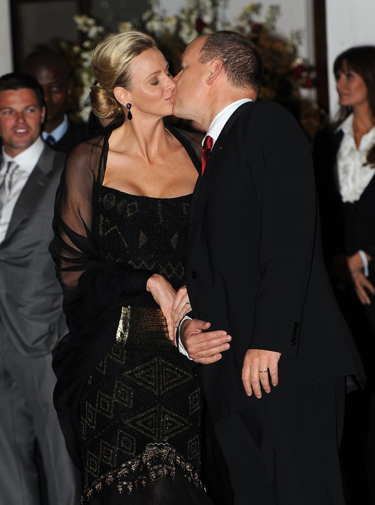 Princess Charlene joined her husband, Prince Albert, to host a private dinner party at the luxe hotel Oyster Box in Durban, South Africa, this evening. The newlyweds shared a sweet kiss as they greeted their guests on the red carpet outside the soiree, which featured a performance by Zulu dancers, as well as a dish specially created by the hotel for the event called Oysters Charlene. Prince Albert married Charlene Wittstock on Saturday in the courtyard outside the Prince's Palace. Princess Charlene wore an Armani wedding gown for the festivities, and the newlyweds capped off the day with a fireworks show and concert at Port Hercule. With Prince Albert and Princess Charlene spend some time on the continent of Africa, Prince William and Kate Middleton continue their tour of North America. They've been spending time in Canada for the past week, and on Friday, Will and Kate will touch down in the states as they get ready to spend a long weekend in California.
