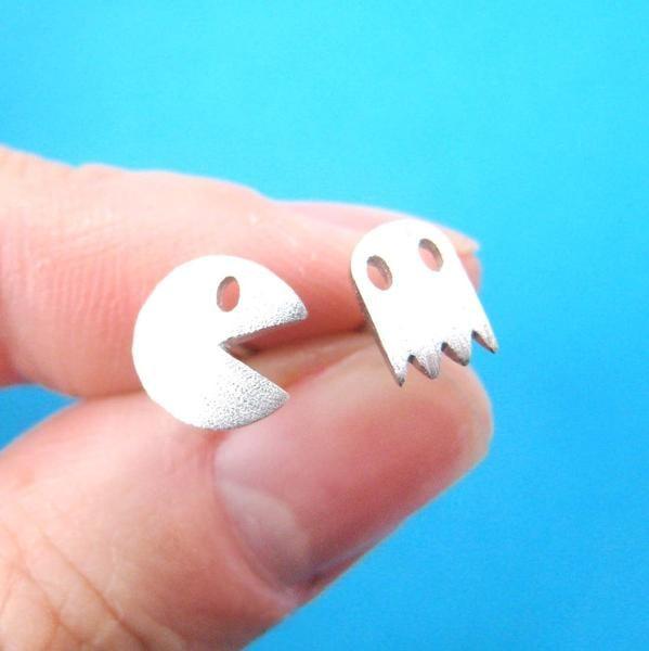 Pac-Man and Ghost Stud Earrings