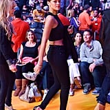 Rihanna went full-on sexy in tight black pants and a crop top while checking out a Lakers game on Christmas Day in 2012.