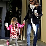 Jennifer Garner helped Seraphina Affleck down the stairs after a coffee stop in LA.