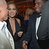 Jennifer Lopez and her boyfriend, Casper Smart, chatted with her ex Diddy at The Weinstein Company's bash.