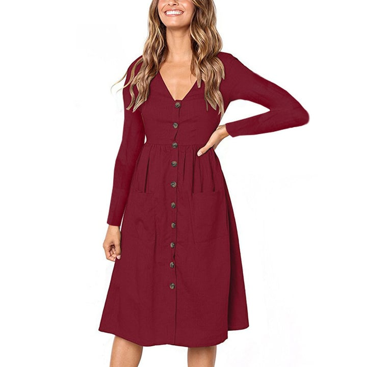 JustVH V-Neck Casual Midi Dress