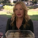 Jen's Green Blazer, Black Button-Up, and Gold Chain Necklace on Dead to Me