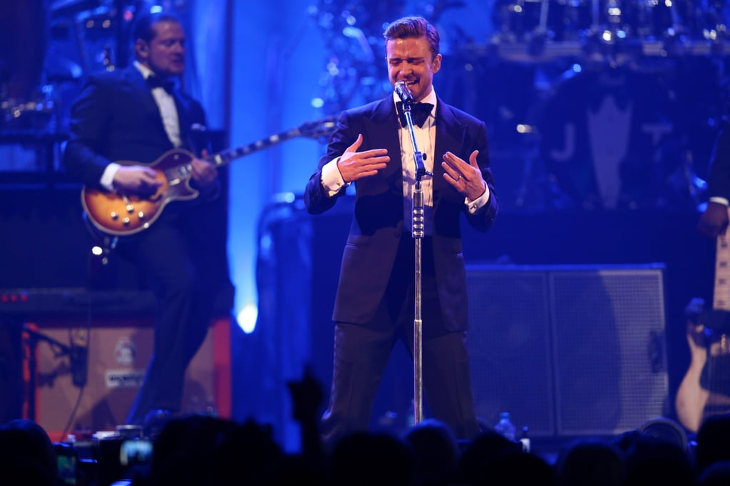 """Justin Timberlake took the stage at DirecTV's Super Saturday Night party in New Orleans last night. He debuted new songs from his upcoming album, The 20/20 Experience, and sang older hits such as """"Like I Love You"""" for the crowd. He had some help making his Super Bowl comeback when he was joined on stage by two surprise guests, Jay-Z and Timbaland. Jay-Z accompanied Justin on their new track, """"Suit & Tie,"""" and Timbaland helped JT resurrect his past with """"SexyBack"""" —click through to watch the performances. It is an exciting time for Justin, who along with preparing for the release of his new album, announced he will perform at this year's Grammy Awards. His pre-Super Bowl concert was just one of the festivities stars are taking part in for the big game in New Orleans—see all the stars partying during Super Bowl weekend."""