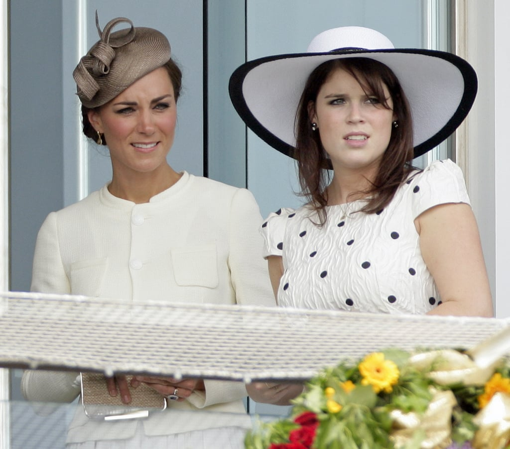 In June 2011, just a couple months after the royal wedding, Princess Eugenie and Kate Middleton watched a horse race from the royal box.