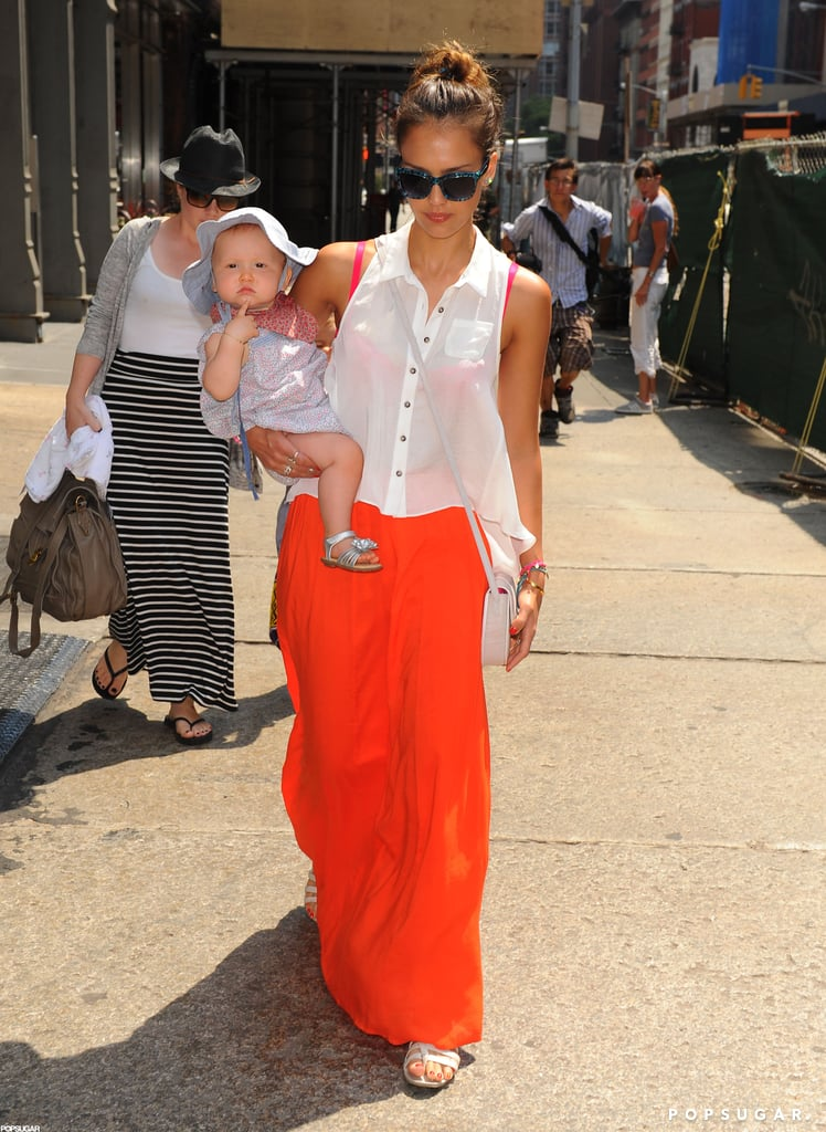 Jessica Alba carried Haven in NYC.