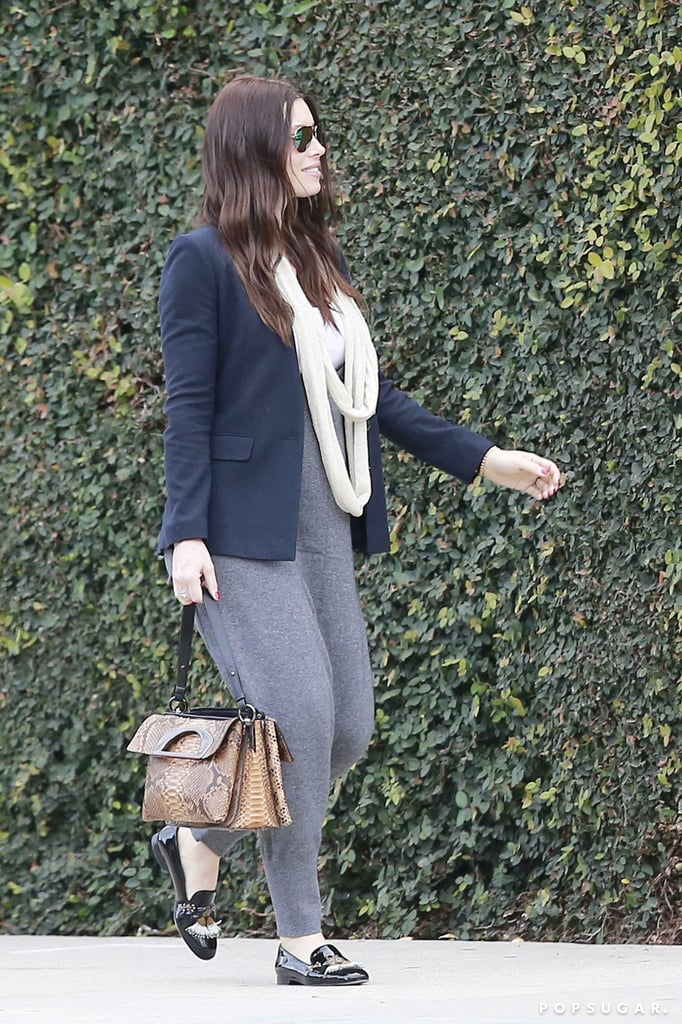 Jessica Biel stepped out in printed pants to run errands in LA on Tuesday afternoon and again in a baggy blazer look on Wednesday, giving us multiple chances to check out her rumored baby bump. Despite the fact that Justin Timberlake and Jessica still have yet to officially confirm the news, it's safe to say we're all having pretty excited reactions to the baby rumors. We've been more or less on bump watch, and we got another look during Jessica's outing with her dogs last week. Keep reading to see the latest pictures and decide for yourself.