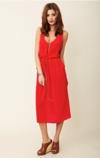 The vibrant hue alone made us fans of this frock — then we caught the subtly sexy back . . .  Funktional Tunnel Dress ($125)