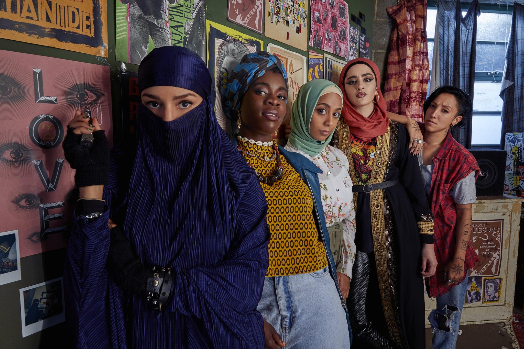 L-R - Lucie Shorthouse (Momtaz), Faith Omole (Bisma), Anjana Vasan (Amina), Juliette Motamed (Ayesha),  Sarah Impey (Saira)