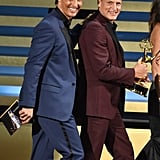 True Detective's Matthew McConaughey and Woody Harrelson took the stage together at the Emmys.
