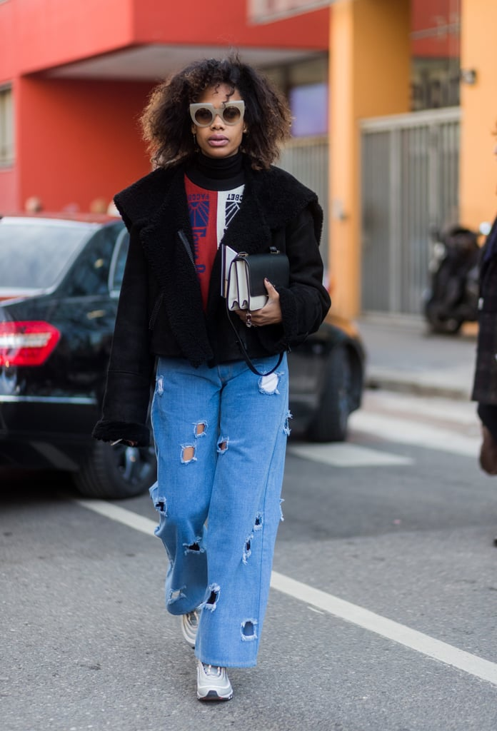 Wide-Leg Jeans + Chunky Sneakers