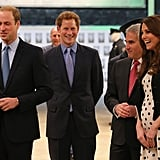 Prince William, Prince Harry, and Kate Middleton shared a laugh.