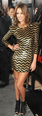 Jessica Alba Wears Balmain Sequined Dress and Louboutins to Machete Premiere