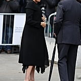 Meghan Markle's Black Givenchy Coat ACU Visit Jan. 2019