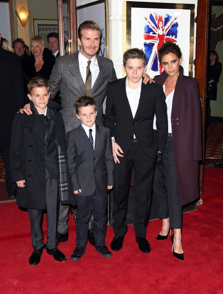 David Beckham and Victoria Beckham took their boys to the London premiere of Viva Forever in December 2012.