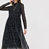 Levete Room Mesh Polka-Dot Midi Dress