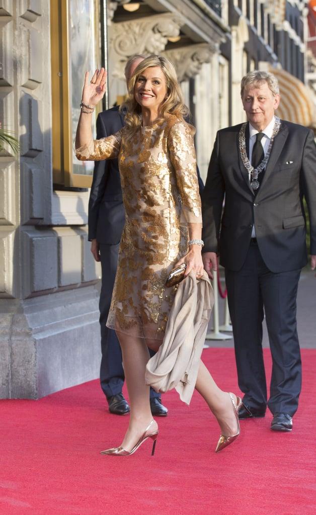 Queen Maxima Gold Natan Dress at Liberation Day Concert 2016