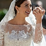 The bride wore a gorgeous gown for the religious wedding ceremony.