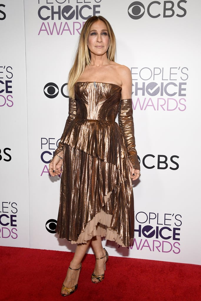 But SJP Styled It With Matching Metallic Sleeves