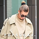Hailey Baldwin Trench Coat and Trousers 2018
