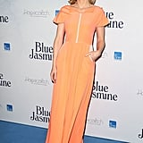 For the Sydney premiere of her film Blue Jasmine, Cate brought a healthy dose of Vitamin Orange in a Roksanda Illincic dress. Featuring a two-tone sorbet hue and the designer's trademark folded neckline, Cate let the vibrant frock make its statement and kept accessories to a minimum, simply adding gold Christian Louboutin 'Sylvette' sandals.