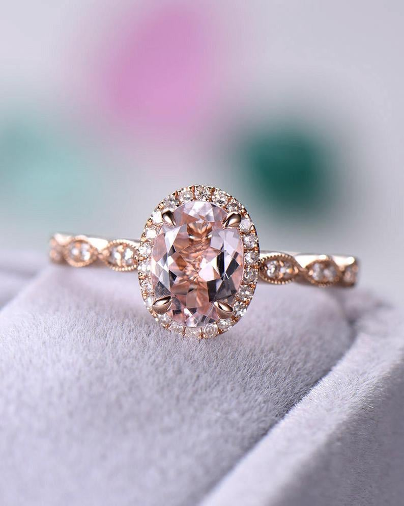 Rose Gold Oval Cut Natural Morganite Engagement Ring