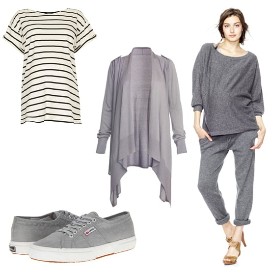 Emily Blunt's maternity style is too cute not to copy the entire look! You can never go wrong with a classic striped tee ($32) topped off with a roomy cardigan ($234). And instead of jeans, we love the idea of going with chic cashmere sweatpants ($188) and slipping on some stylish sneakers ($50, originally $80).
