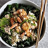 Grilled shrimp, kale, avocado, and fried rice