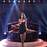"""Selena ended her musical night with a performance of """"Hands to Myself"""" in a leggy black slip dress."""