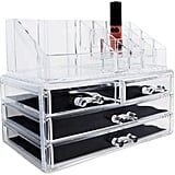 The Ikee Design Acrylic Cosmetic Storage Organiser ($US28) can hold  skincare tools on top and various products in the drawers.